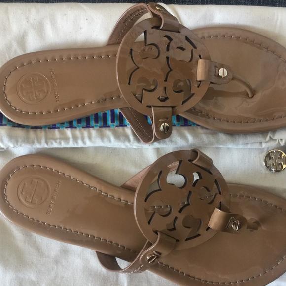 d1c48c1e06f3c8 Tory Burch Nude Tan Patent Leather Miller Sandals